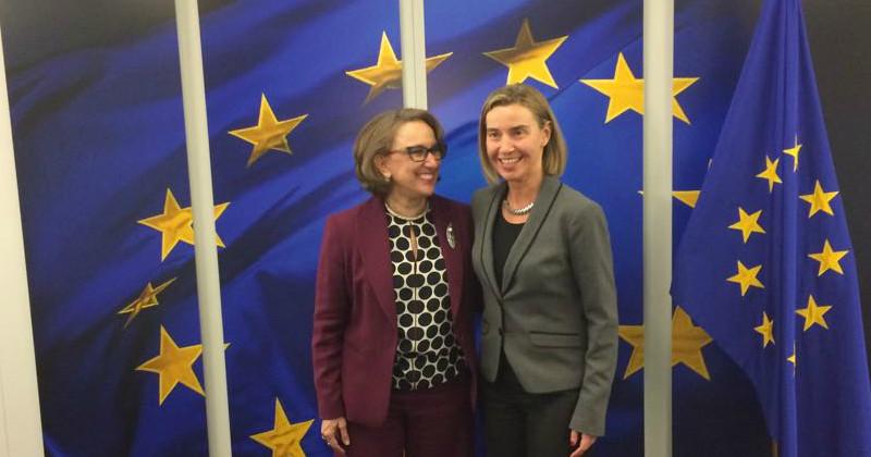 La Alta Representante y Vice presidenta de la Unión Europea, Federica Mogherini y la Secretaria General Iberoamericana, Rebeca Grynspan