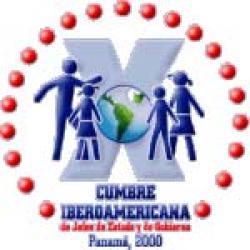 """logotipo X Cumbre Iberoamericana Panamá 2000 -""""Unidos por la Niñez y la Adolescencia, Base de la Justicia y la Equidad en el Nuevo Milenio"""""""