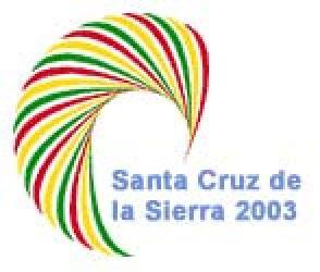 """logotipo XIII Cumbre Iberoamericana Santa Cruz de la Sierra 2003 – """"La inclusión social, motor del desarrollo de la Comunidad Iberoamericana""""."""