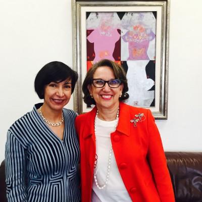 Rebeca Grynspan, Secretaria General Iberoamericana, y Socorro Flores Liera, Subsecretaria para América Latina y el Caribe