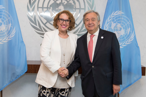 Secretary General Antonio Guterres meeting with H.E. Ms. Rebeca Grynspan, Secretary-General, Ibero-American Conference