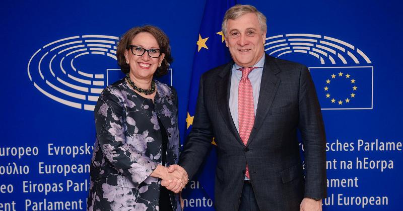 Antonio Tajani, Presidente del Parlamento Europeo y Rebeca Grynspan, Secretaria General Iberoamericana